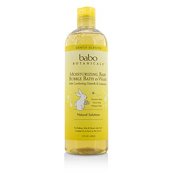 Babo Botanicals Moisturizing Baby Bubble Bath & Wash with Comforting Oatmilk & Calendula - For Sensitive & Dry Skin 450ml/15oz