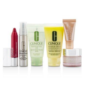CliniqueTravel Set Facial Soap 30ml DDML 30ml Moisture Surge Intense 15ml Smart Serum 10ml Eye Serum 5ml Chubby Stick 05 6pcs