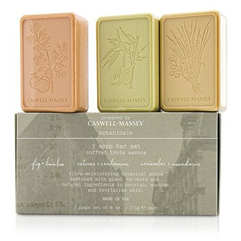 Caswell Massey Botanicals 3 Soap Bar Set: Fig & Bamboo 170g/6oz + Vetiver & Cardamom 170g/6oz + Coriander & Mandarin 170g/6oz  3pcs