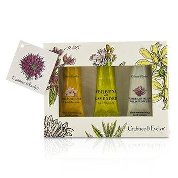 Crabtree & Evelyn Ultra-Moisturising Hand Therapy Set: English Honey 25g + Verbena & Lavender 25g + Caribbean Island Wild Flowers 25g  3pcs