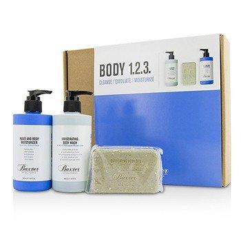 Baxter Of California Body 1.2.3 Kit: Body Wash 300ml + Hand & Body Moisturizer 300ml + Body Bar 198g  3pcs