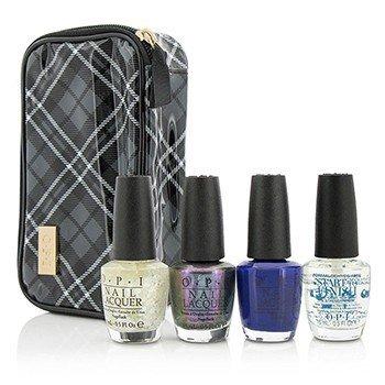 O.P.I Plaid About You Set: 3x Nail Lacquers  1x Base Coat  1x Case 4pcs+1bag