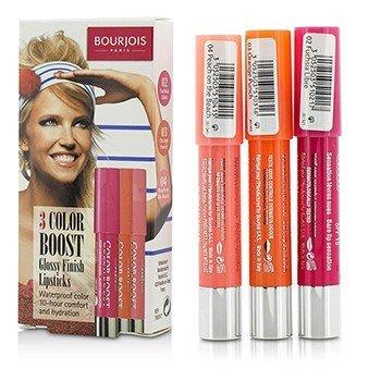Bourjois 3 Color Boost Glossy Finish Lipsticks SPF 15 Set: 3x Lipsticks (#02 Fuchsia Libre, #03 Orange Punch, #04 Peach on the Beach)  3x2.75g/0.1oz