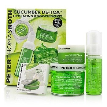 Cucumber Detox Набор: Гелевая Маска 150мл/5унц + Очищающая Пенка 30мл/1унц + Увлажняющий Гель 15мл/1унц + Кубики для Глаз 4pcs