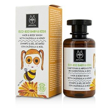 ApivitaEco Bio Baby Kids Hair Body Wash With Calendula Honey 200ml 6.8oz