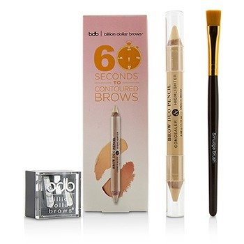 Billion Dollar Brows 60 Seconds to Contoured Brows Kit (1x Brow Duo Pencil& 1x Smudge Brush& 1x Duo Sharpener) 3pcs