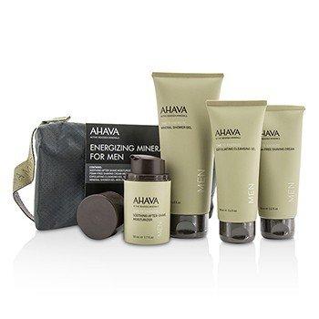 Ahava Energizing Minerals For Men Set: Exfoliating Cleansing Gel 100ml + After-Shave Moisturizer 50ml + Shaving Cream 100ml + Mineral Shower Gel 200ml 4pcs 21034995314