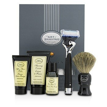 Image of The Art Of Shaving Lexington Collection Power Shave Set: Razor + Brush + Pre Shave Oil + Shaving Cream + After Shave Balm - Without Battery 5pcs