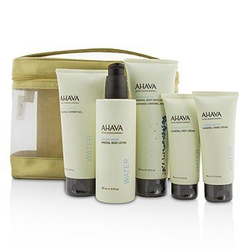 Ahava Deadsea Water Mineral Body Kit: Shower Gel + Body Exfoliator + Body Lotion + Hand Cream + Foot