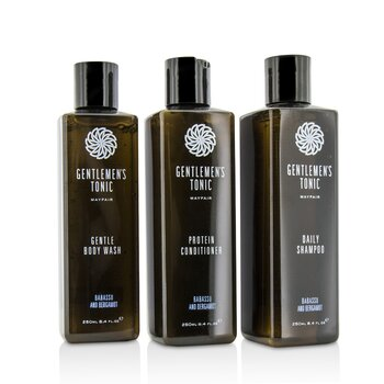Gentlemen's Tonic Shower Gift Set: Gentle Body Wash 250ml + Daily Shampoo 250ml + Protein Conditioner 250ml 3pc