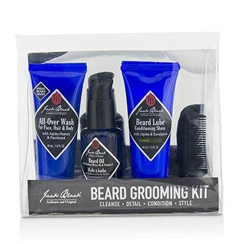 Beard Grooming Kit: All-Over Wash 44ml  Beard Oil 30ml  Beard Lube Conditioning Shave 44ml  Beard Comb Jack Black Beard Grooming Kit: All-Over Wash 44ml  Beard 21295499914