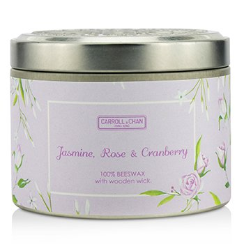 The Candle Company Tin Can 100% Beeswax Candle with Wooden Wick - Jasmine  Rose & Cranberry (8x5) cm