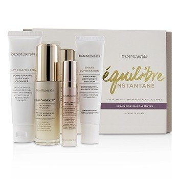 BareMinerals Balance To-Go Started Kit (Normal to Combination Skin): Clay Chameleon+Skinlongevity+Br