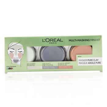 Купить Multi-Masking Мини Набор: Отшелушивающая Маска для Очищения Пор, Детоксифицирующая и Очищающая Маска, Очищающая и Матирующая Маска 3pcs, L'Oreal