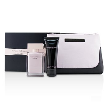 Narciso Rodriguez For Her Coffret: Eau De Parfum Spray 50ml/1.6oz + Her Body Lotion 75ml/2.5oz + Pouch 2pcs+1Pouch