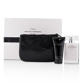 Narciso Rodriguez L'Eau For Her Coffret: Eau De Toilette Spray 50ml/1.6oz + Her Body Lotion 50ml/1.6oz + Pouch 2pcs+1Pouch