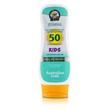 Australian Gold Lotion Sunscreen Broad Spectrum SPF 50 with Soothing Aloe Vera - For Kids 237ml/8oz