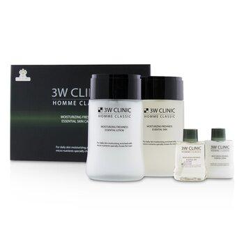 3W ClinicHomme Classic - Moisturizing Freshness Essential Skin Care Set: Essential Skin 150ml+30ml + Essential Lotion 150ml+30ml 4pcs