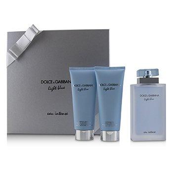 Dolce & Gabbana Light Blue Eau Intense Coffret: Eau De Parfum Spray 100ml/3.3oz + Refreshing Body Cream 100ml/3.3oz + Energy Body Bath & Shower Gel 100ml/3.3oz 3pcs