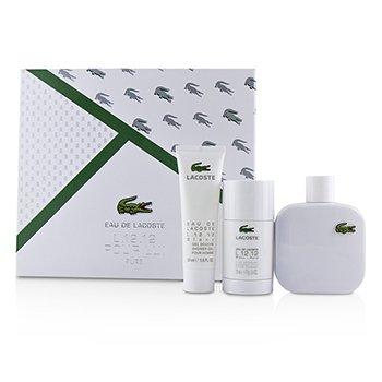 Lacoste Eau De Lacoste L.12.12 Blanc Coffret: Eau De Toilette Spray 100ml/3.3oz + Deodorant Stick 75ml/2.4oz + Shower Gel 50ml/1.6oz 3pcs