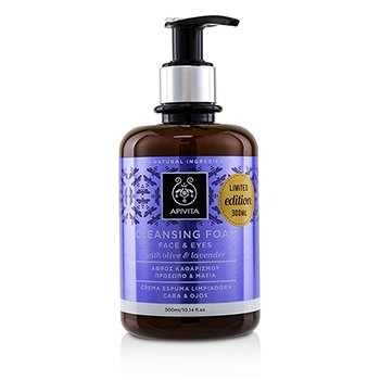 Apivita Cleansing Foam With Olive & Lavender For Face & Eyes (Limited Edition) 300ml|10.14oz