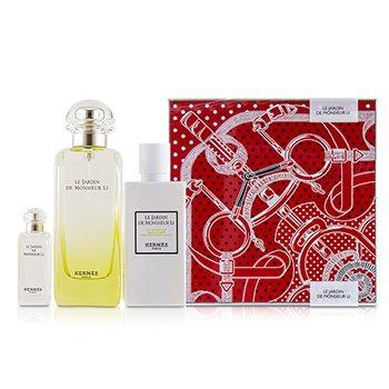Hermes Le Jardin De Monsieur Li Coffret: Eau De Toilette Spray 100ml/3.3oz + Moisturizing Body Lotion 80ml/2.7oz + Eau De Toilette 7.5ml/0.25oz 3pcs