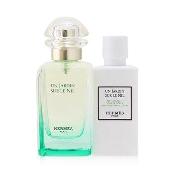 Купить Un Jardin Sur Le Nil Coffret: Eau De Toilette Spray 50ml/1.6oz + Moisturizing Body Lotion 40ml/1.35oz 2pcs, Hermes