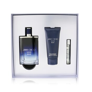 Купить Man Blue Coffret: Eau De Toilette Spray 100ml/3.3oz + After Shave Balm 100ml/3.3oz + Eau De Toilette Spray 7.5ml/0.25oz 3pcs, Jimmy Choo