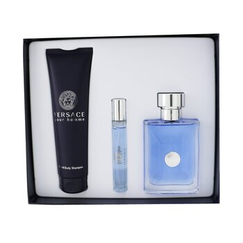 Купить Versace Pour Homme Coffret: Eau De Toilette Spray 100ml/3.4oz + Eau De Toilette Spray 10ml/0.3oz + Hair & Body Shampoo 150ml/5oz