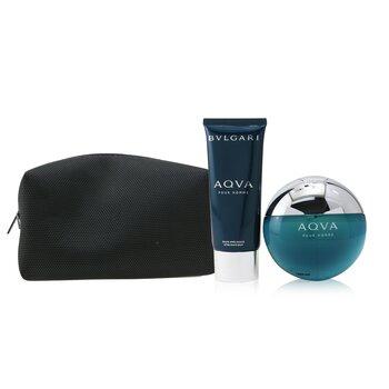 Купить Aqva Pour Homme Coffret: Eau De Toilette Spray 100ml/3.4oz + After Shave Balm 100ml/3.4oz + Pouch 2pcs+Pouch, Bvlgari