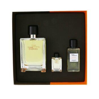 Купить Terre D'Hermes Coffret: Eau de Toilette Spray 100ml/3.3oz + Hair And Body Shower Gel 40ml/1.35oz + Eau de Toilette 5ml/0.17oz