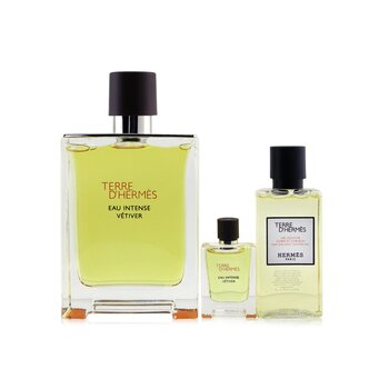 Купить Terre D'Hermes Eau Intense Vetiver Coffret: Eau De Parfum 100ml/3.3oz + Hair & Body Shower Gel 40ml/1.35oz + Eau De Parfum 5ml/0.17oz