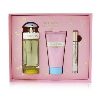 Купить Candy Sugar Pop Coffret: Eau De Parfum Spray 80ml/2.7oz + Body Lotion 75ml/2.5oz + Roll-On 10ml/0.34oz 3pcs, Prada