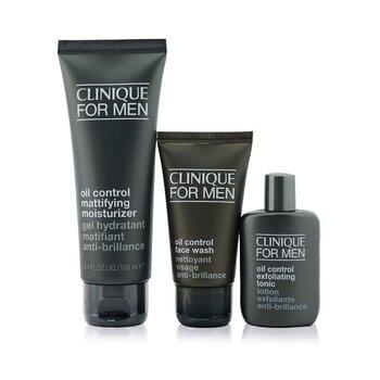 Купить Great Skin For Men Oil Control 3-Pieces Set : Face Wash 50ml + Exfoliating Tonic 30ml + Mattifying Moisturizer 100ml 3pcs, Clinique