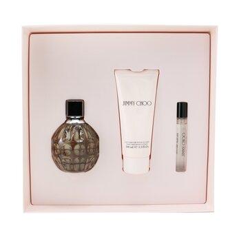Купить Jimmy Choo Coffret: Eau De Parfum Spray 100ml/3.4oz + Eau De Parfum Spray 7.5ml/0.25oz + Body Lotion 100ml/3.3oz