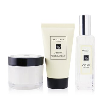 Купить Scented Escape Collection: Wood Sage & Sea Salt Cologne Spray 30ml + English Pear & Freesia Body Creme 50ml + Lime Basil & Mandarin Exfoliating Shower Gel 50ml 3pcs+Pouch, Jo Malone