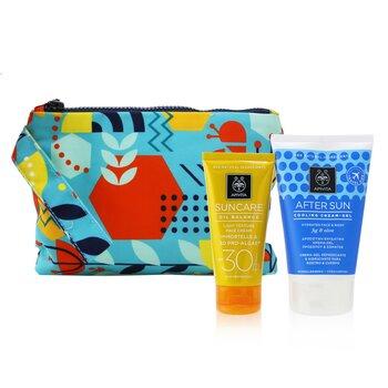 Купить Suncare Gift Set: Oil Balance Face Cream (Immortelle & 3D Pro-Algae) SPF30 50ml + After Sun Cooling Cream-Gel 100ml 2pcs+1pouch, Apivita