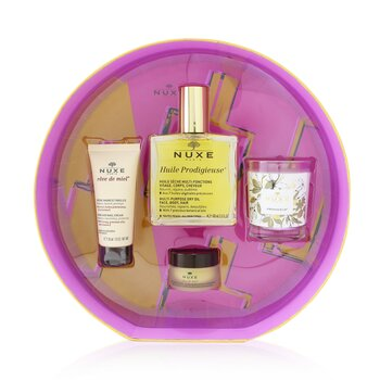 Купить Prodigieusement Culte Set: Huile Prodigieuse Dry Oil 100ml + Reve De Miel Hand Cream 30ml + Reve De Miel Honey Lip Balm 15g + Prodigieux Candle 70g 4pcs, Nuxe