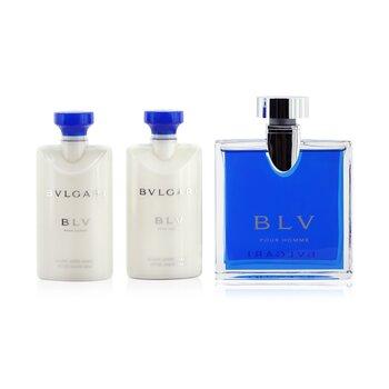 Купить Blv Coffret: Eau De Toilette Spray 100ml/3.4oz + 2x After Shave Balm 75ml/2.5oz + Pouch 3pcs+Pouch, Bvlgari