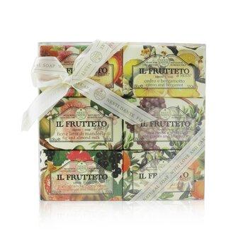 Купить Il Frutteto Soap Gift Set (#Peach & Lemon, #Citron & Bergamot, #Fig & Almond Milk, #Red Grapes & Blueberry, #Pomegranate & Blackcurrant, #Olive Oil & Tangerine 6x150g/5.3oz, Nesti Dante
