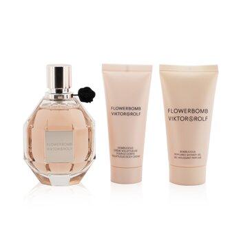 Купить Flowerbomb Coffret: Eau De Parfum Spray 100ml/3.4oz + Body Cream 40ml/1.36oz + Shower Gel 50ml/1.7oz 3pcs, Viktor & Rolf