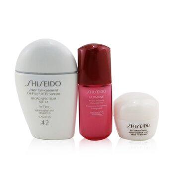 Купить Ultimate Daily Sun Set: SPF 42 Sunscreen 30ml +Moisturizing Cream 10ml + Ultimune Power Infusing Concentrate 10ml 3pcs, Shiseido