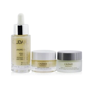 Купить The Cult (Vinoperfect) Anti-Dark Spot Routine Set: Radiance Serum 30ml+Correcting Moisturizer 15ml+Glycolic Night Cream 15ml 3pcs, Caudalie