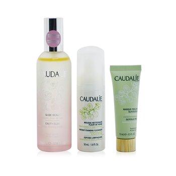 Купить The Beauty Essentials Set: Beauty Elixir 100ml+ Instant Foaming Cleanser 50ml+ Glycolic Peel 15ml 3pcs, Caudalie