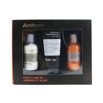 Купить Face It & Go Kit: Glycolic Facial Cleanser 100ml + All Purpose Facial Moisturizer 90ml + Facial Scrub 100ml 3pcs, Anthony