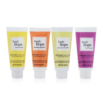 Купить Hope For All Nurturing Hand & Nail Cream 4-Pieces Set: Lemon Custard 30ml + Sparkling Grapefruit 30ml + Green Tea & Avocado 30ml + Berry & Sage 30ml 4x30ml/1oz, Philosophy