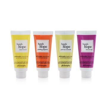 Купить Hope For All Nurturing Hand & Nail Cream 4-Pieces Set: Lemon Custard 30ml + Sparkling Grapefruit 30ml + Green Tea & Avocado 30ml + Berry & Sage 30ml (Box Slightly Damaged) 4x30ml/1oz, Philosophy