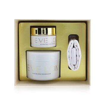 Купить Begin & End Gift Set: Cleanser 200ml/6.8oz + Moisture Cream 50ml/1.6oz + Muslin Cloth 3pcs, Eve Lom