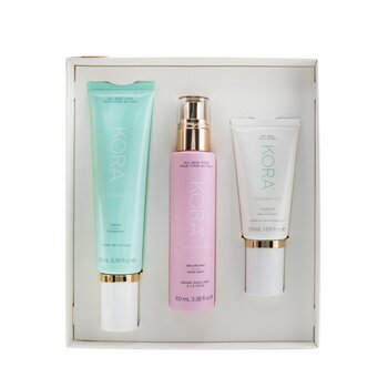 Купить 3 Step System - Dry Skin: Cream Cleanser 100ml + Balancing Rose Mist 100ml + Hydrating Moisturizer 50ml 3pcs, Kora Organics