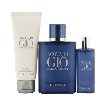 Купить Acqua Di Gio Profondo Coffret: Eau De Parfum Spray 75ml/2.5oz + Eau De Parfum Spray 15ml/0.5oz + All Over Body Shampoo 75ml/2.5oz 3pcs, Giorgio Armani